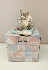 Vintage Calico Kitten You're So Huggable Cat Figurine 623563 Cat Holding Bunny