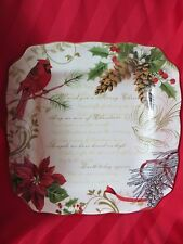 222 FIFTH HOLIDAY WISHES DINNER PLATE NEW 11IN SQUARE PORCELAINE RED BIRD GOLD