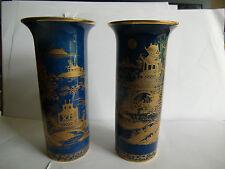 Pair of Carlton Ware Blue/Gilt Lustre  Chinese Themed Vases 15cm tall