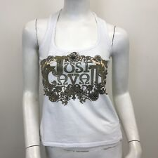 1fd6d2db5ddd Roberto Cavalli Ladies White Gold Baroque Wrestler Back Vest Top UK Size 6-8