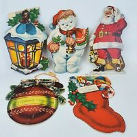 Vintage Lot 5 Die Cut Christmas Cards from 1940's - 50's Stocking Santa Snowman