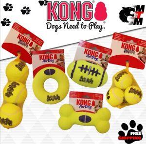 KONG SqueakAir Tennis Balls Squeaky Dog Toy Fetch- football/doughnut/bone + more
