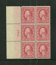 U.S. SC.#463  PLATE BLOCK OF 6-1916 2c WASHINGTON  PERF.10 UNWATERMARKED-NH