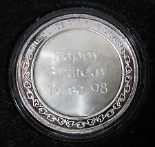 1998 HAPPY BIRTHDAY SILVERTOWNE 999 FINE SILVER ONE OUNCE BULLION ROUND BAR COIN