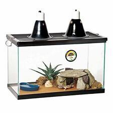 Aquarium Reptile Habitat Glass Tank Terrarium Turtle Starter Kit Screen Bulb