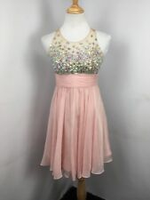 JVN by Jovani Blush Pink Beautiful Illusion Top Empire Waist Beaded Dress Sz 4