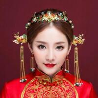 Chinese Style Retro Bride Wedding Headdress Head Hair Ornament Accessory Set