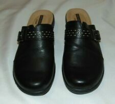 Womens CLARKS Collection BLACK Leather Slip On Clogs Mule Shoes Size 5.5
