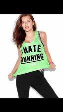 Victorias Secret Pink I Hate Running Racerback Tank Top Tee Shirt L Neon Green