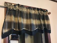 Waverly Carpet Ride Wavy Edge Lined Plaid Fairfield Valance 52 W x 18 L Onyx