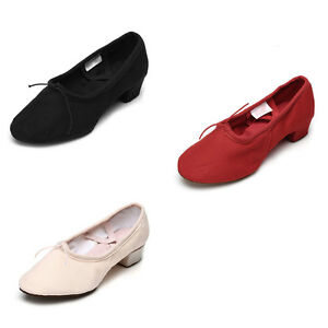Women Ladies Ballroom Canvas Pratice Dance Shoes Tango Salsa Girls Unisex Heeled