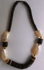 Vintage Costume Jewelry Dark and Light Wood with plastic shells 22 inch Necklace