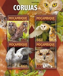 OWLS (Corujas) Birds of Prey Mint MNH Stamp Sheet M/S #2 (2016 Mozambique)