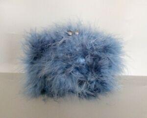 Chi Chi Ksenia feathered Hard Case Clutch Bag Blue