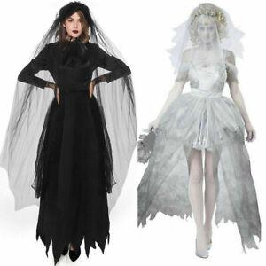 Halloween Adult Ghost Bride Fancy Dress Vampire Horror Party Cosplay Costume