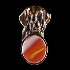 Carved Dog & A GEM Pendant Bead GC600163