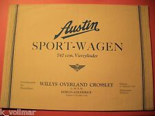 ✪ ANTIK prospectus Austin sport-voiture 747 CCM cylindres willys Overland Crossley