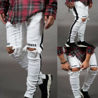 Mens Jeans Long Pants Denim Skinny Ripped Frayed Slim Fit Biker Hip Hop Trousers