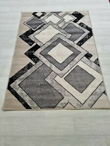 Quality Rug Grey Beige Black 120cm x 170cm Soft Touch Living Room Turkish Carpet