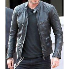 David Beckham Motor Biker Real Leather Motorcycle Men's Black Jacket L