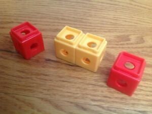 MATTEL TRIO BUILDING BLOCK 3 PIECES RED YELLOW 2008 PLASTIC BLOCKS WASHED CLEAN