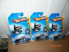 3 2009 Hot Wheels 2009 New Model OCC Splitback Chopper Motorcycle in Black