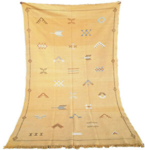 Boucherouite Morocco rug authentic Berber 7.6 ft x 4.2 ft Azilal boujad sgag rug