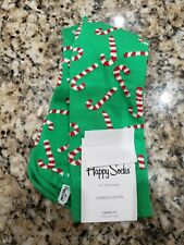 HAPPY SOCKS MEN GREEN RED CHRISTMAS CANDY CANE DRESS SOCKS M 8-12 1 PAIR NIB