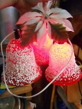 Vintage Christmas 3 Red Bell Cluster Light Decoration, White Foam, Trimmings