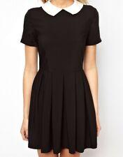 Womens Black Peter Pan Collar Short Sleeve Pleated * Skater Block Mini Dress