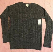 St John's Bay Women's Long Sleeve V-Neck Cotton Blend Sweater Grey Black NWT $34