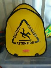 """RUBBER MAID 22"""" high x 19"""" wide Yellow 2-sided Caution Wet Floor Safety Sign"""