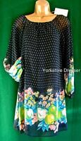 New MONSOON Navy Blue Floral Ditsy Fruit CITRON Tunic Shift Dress - Uk 8 10 12