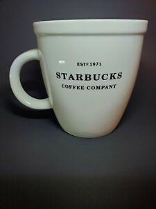 Starbucks Coffee Mug 2007 Barista Abbey White 18 OZ Black Graphics Est 1971