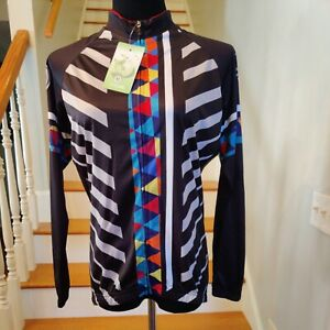 Xintown Women Cycling Jersey XL Long Sleeve Biking Jacket Black White NEW