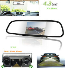 4.3'' Car Reverse Parking Rearview Mirror Monitor+Camera & Radar Alarm Sensor