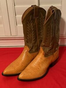 TONY LAMA Lizard & Brown Leather Western Men's Boots Size 11 EE Made in USA
