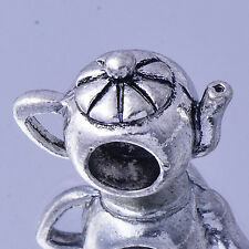 White Gold Filled Silver Teapot Charms Beads Spacer Fit European bracelet