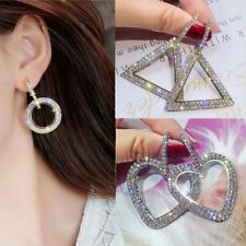 Fashion Luxury Round Heart Earrings Women Crystal Geometric Hoop Jewelry Gifts