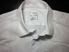 PRONTO UOMO Men's Dress Shirt Button Down - EUC! White Purple (Size 15, 34/35)
