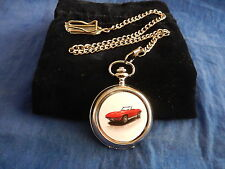 CORVETTE STINGRAY RED CHROME POCKET WATCH WITH CHAIN (NEW)  (2)