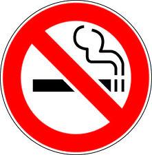 """2 No Smoking Decal Stickers 3.5""""dia outdoor durable window, door stop smoke logo"""