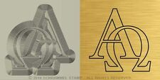 #R08 CHRISTIANITY: ALPHA AND OMEGA Religious Steel HAND STAMP Silver Metal Punch