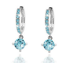 Diamante Crystal Silver & Ocean Blue Zircons Rhinestone Hoops Drop Earrings E551