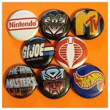 80s 1in buttons badge GI JOE HOT WHEELS MTV TRANSFORMER