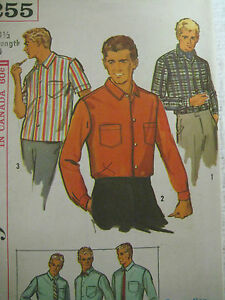 Vintage 60s Advance 6255 Mens PROPORTIONED SHIRT Sewing Pattern Neck 14.5