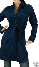 Azul Marino L/S con Botones Gabardina Camisa Chaqueta S