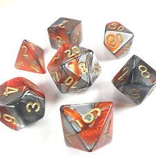 Chessex Dice Poly - Gemini Orange Steel w/ Gold Set of 7 - 26461 - Free Bag! DnD