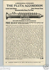"""1920's PAPER AD Weiss Silver Fluta Accordeon 13"""" Long Tourist Record Player"""