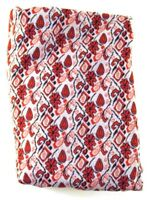 True Vintage 1970s Red White Geometric Floral Patterned POLYESTER Fabric